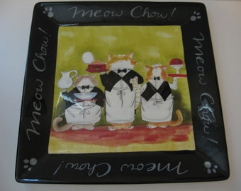 "Meow Chow 13"" Square Serving Platter"