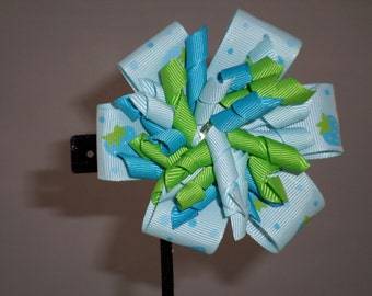 Flower and korker hair bow in blue and green