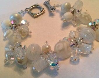 Summer White-Handmade Lampwork Bracelet
