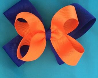 Blue Orange Hair Bow Florida Gators