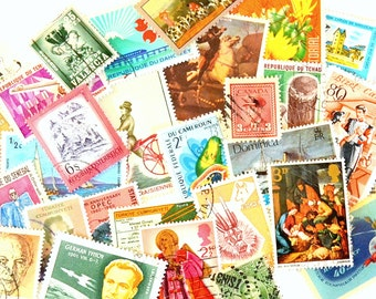 Vintage World Wide Used Cancelled Postage Stamps - Random Assortment of International Stamps