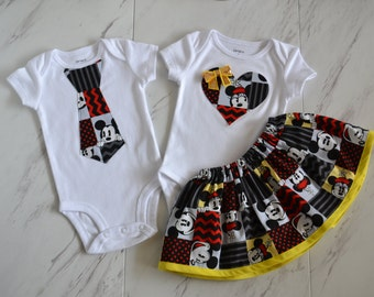 MICKEY necktie bodysuit ONLY** Mickey Mouse/Minnie Mouse, TWIN, brother/sister set, Disney