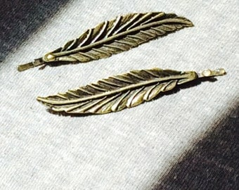 Golden Feather Hairclips