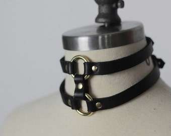 Double Strap Leather Choker - BLACK