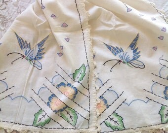 Hand Embroidered Vintage Butterfly Table Runner With Pinks, Yellows & Blues. Work of Art!!
