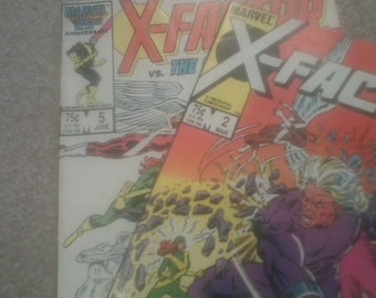 X FACTOR Comics Issues 2 and 5 ( 1st Cameo app. Apocalypse!) 1986 Marvel RARE Vintage Comic Books