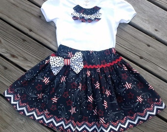 Patriotic Skirt-Patriotic Clothing-4th of July Outfit-Red White Blue Children's Clothes-Patriotic Children's Clothes-Chevron Skirt-T-shirt