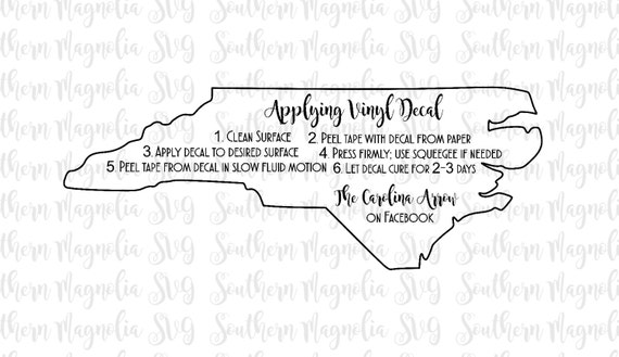 NORTH CAROLINA Vinyl Application Instruction Card Print And Cut - Custom vinyl decal application instructionsapplication etsy