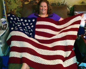 American Flag Afghan....can be done in traditional or vintage colors