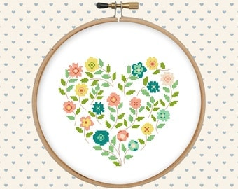 Flower heart cross stitch pattern pdf - pillow embroidered - instant download - modern cross stitch - floral cross stitch