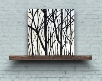 EARLY SPRING BRANCHES 2 - Original Encaustic Painting Black & White, 8x8in