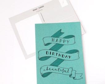 Happy Birthday Beautiful Green - Handlettered Birthday Card - Birthday card - handlettering card - typography card