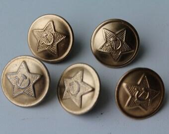 Set of 5 vintage soviet military buttons, Vintage Soviet Army buttons, Soviet buttons, USSR military buttons,Vintage military buttons