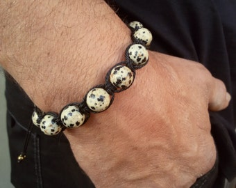 Shamballa Men bracelet Dalmatian Jasper Shamballa Energy bracelet Pisces jewelry gift for Men Healing bracelet Stone Father jewelry gift