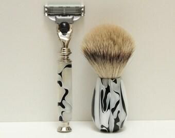 Shaving Set, Premium Silver Tip Badger Hair Brush & Razor