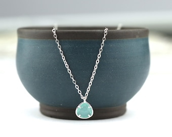 Mint Glass Beads Rhodium Plated Sterling Silver Clasp Necklace
