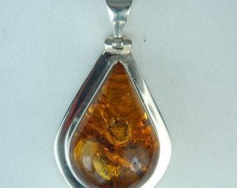 Amber Ladybug Pendant Necklace