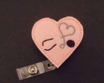 Heart Stethoscope Retractable Reel ID Badge Lanyard Clip Nursing Scrubs Red/Pink