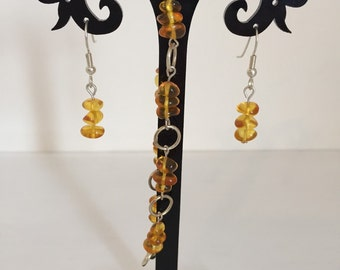 Honey Amber Bracelet and Earrings