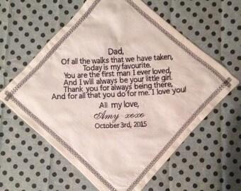 Personalize Wedding Keepsake Handkerchiefs Father/Father in law