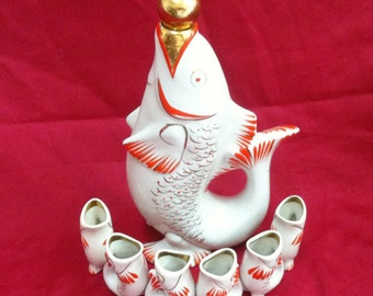 Vintage Soviet Porcelain Figurines Set Fish Jar and 6 fish glasses Polonnoe 1973