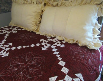 Homemade handmade quilt, red snowflake quilt, red and white quilt, twin quilt, bedroom decor, teen quilt, adult quilt