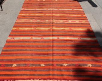 Striped orange vintage turkish kilim rug - 12 x 5 ft