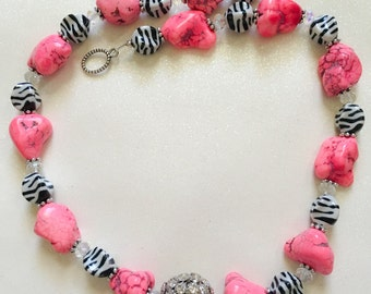 Pink and zebra necklace, teen/adult pink and zebra necklace