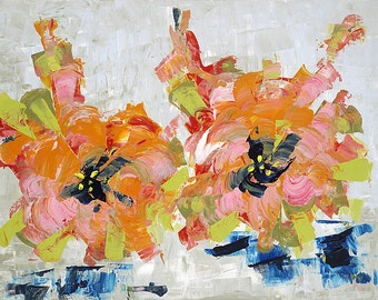 Geranium paintings etsy for Koi pool singleton