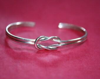 silver love knot bracelet