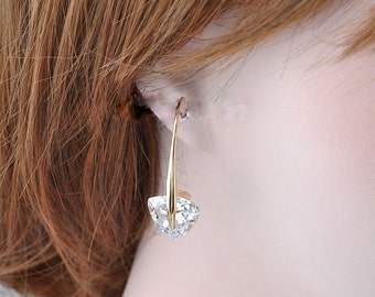 Charming Clear Cubic Zircon Earrings 18k Gold Plated