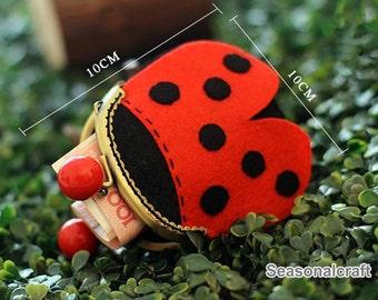 Handmade Coccinella septempunctata Linnaeus Metal frame purse / coin purse / Coin Wallet / Pouch / Kiss lock frame bag (HM15)