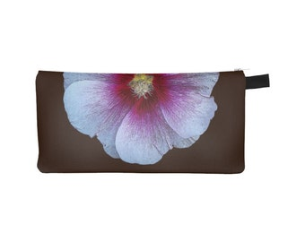 Purple Floral Pouch, Printed Pencil Case, Zipper Coin Purse, Phone, Small Makeup Cosmetic Bag, Gift for Her, Jewelry Organizer Nature Flower