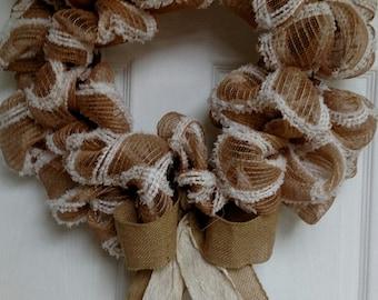 Brown and Cream Burlap Wreath