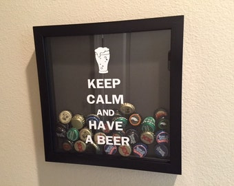 Keep Calm and Have a Beer Shadow Box with Bottle Tops