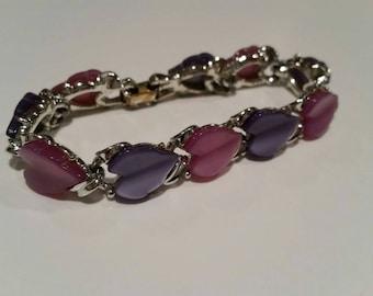 Vintage Lucite Link Bracelet Purple and Pink Heart (GB153)