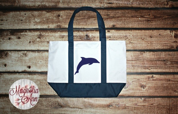 Large Dolphin Zippered Boat Tote Bag in Royal Blue, Navy Blue & Black