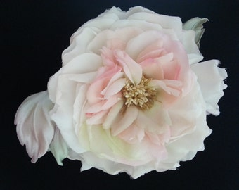 Unique Design Handmade Fabric Flower Brooch/Hair Clip ''Rose-Maria''