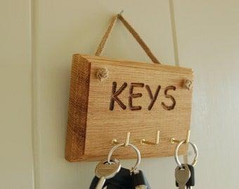 Oak Key Hooks