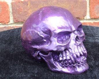 Hand Painted Purple Vampire Skull