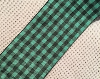 Midori Black/Green Plaid Silk Ribbon