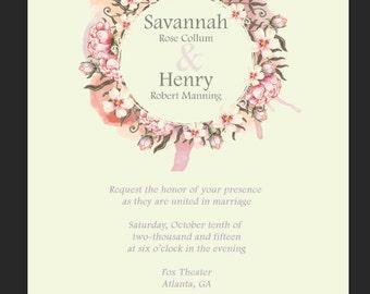 Floral Wreath Wedding Invitation PDF