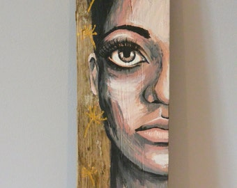 "Painting on wood ""Pissenlit"""