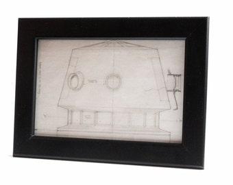 Star Wars Framed Blueprint , Home Decor, Wall Art - Droid Head