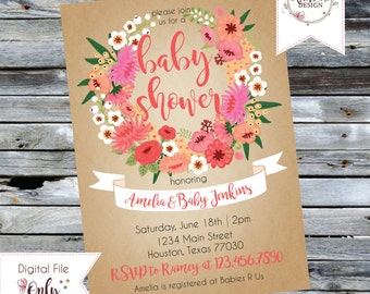 Customizable Printable Baby Shower Invitation - Floral Wreath
