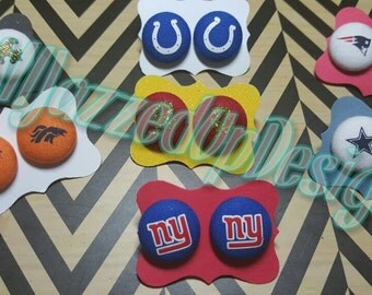 NFL Fabric Post Earrings -Post Earrings-Button Earrings-Post/Stud Earrings-Sports-Giants-Broncos-Cowboys-Colts-Patroits-Saints-Football