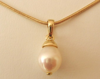 Genuine SOLID 9K 9ct YELLOW GOLD June Birthstone Natural Fresh Water Pearl Pendant