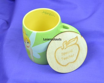 Laser cut Teacher Coaster, plywood, 3mm thick, ideal gift, ready to decorate or leave blank