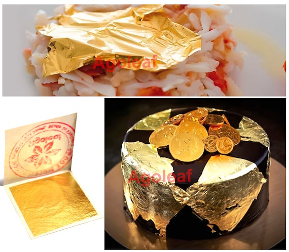 100pcs Edible Gold Leaf Sheets 24K 100% Pure Cake ...