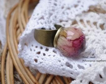 Vintage jewelry, ring, flowers, meta, Handmade